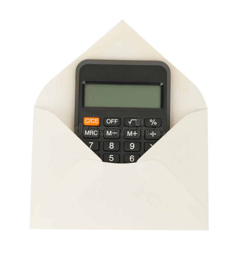 Open White Envelope With Calculator Stock Photo - Image of ...