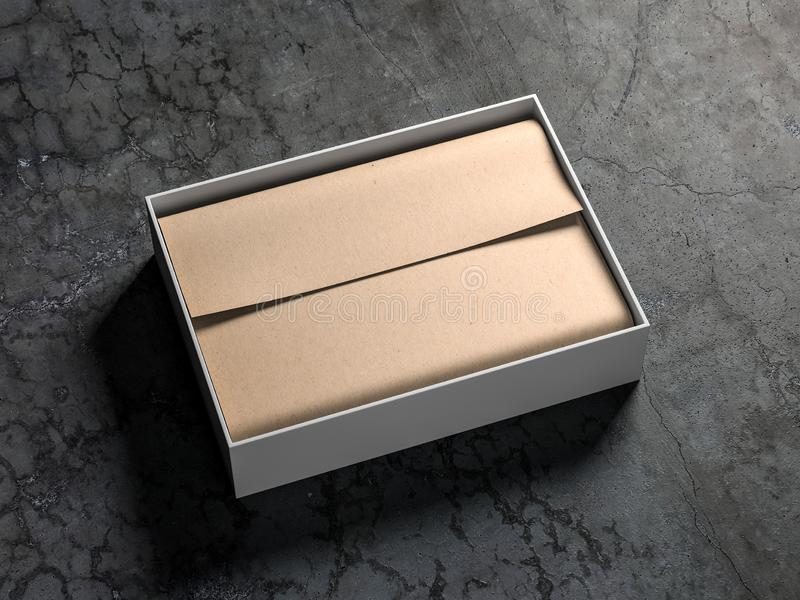 Open White Gift Box packaging Mockup with kraft wrapping paper on concrete floor vector illustration