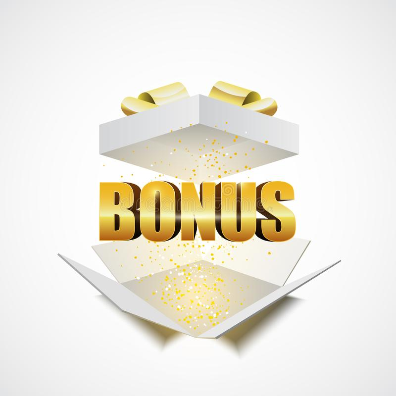 Open white gift box with the word bonus. Vector illustration stock illustration