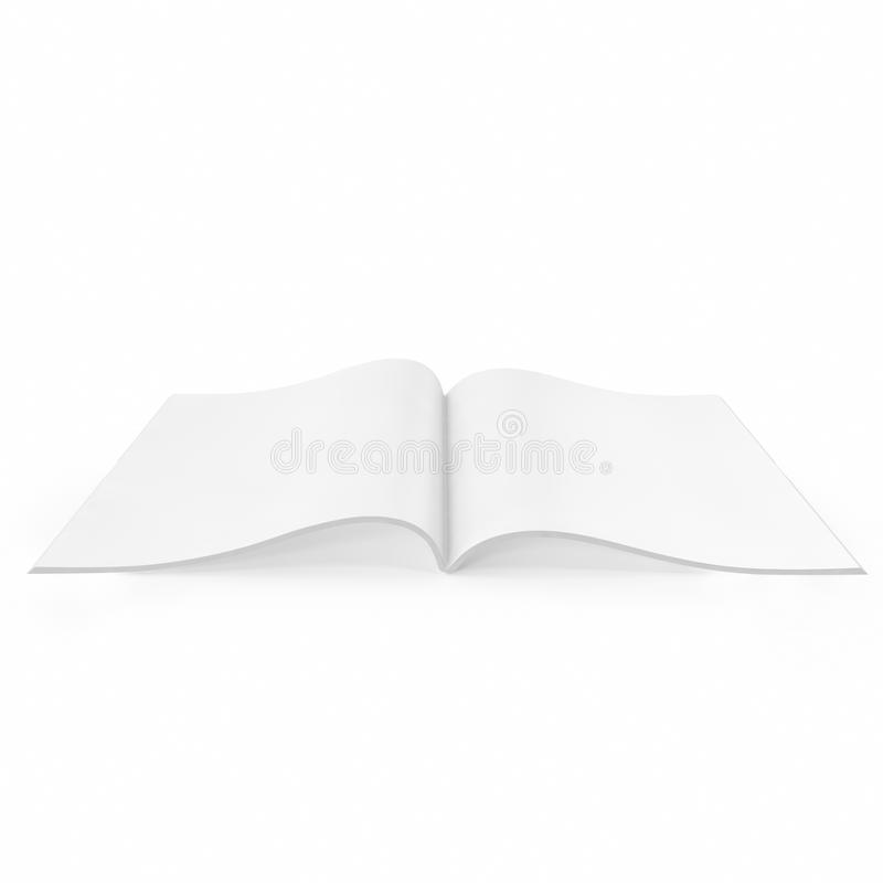 Open white journal, magazine with blank pages. Open white journal, magazine with blank pages, isolated on white background. 3D illustration stock photography