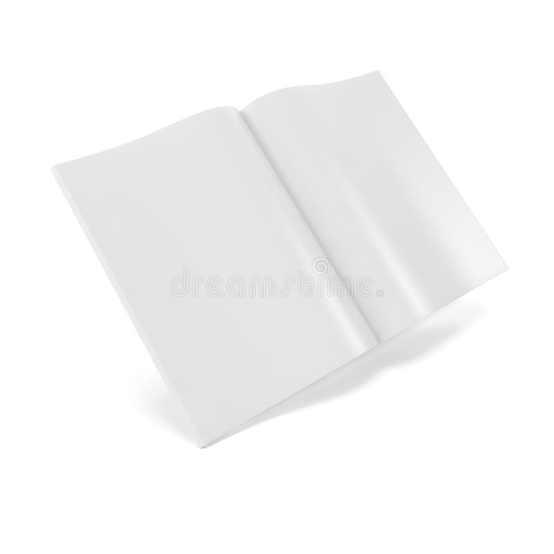 Open white journal, magazine with blank pages. Open white journal, magazine with blank pages, isolated on white background. 3D illustration stock photos