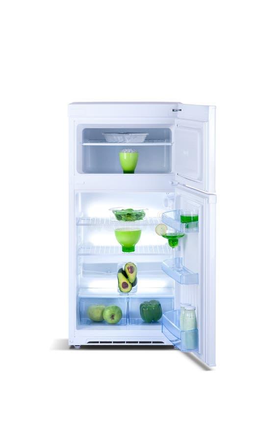 Open white refrigerator. Fridge freezer stock photography
