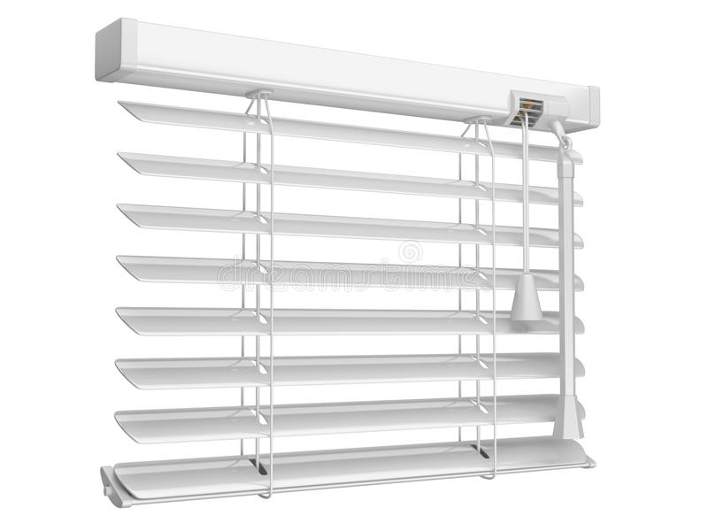 Open white window blinds. 3d illustration on a white background royalty free illustration