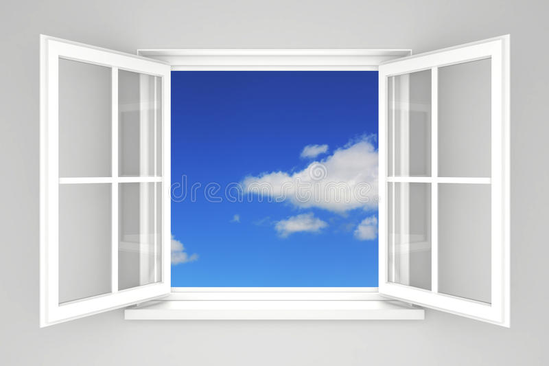 Open window. At the blue sky