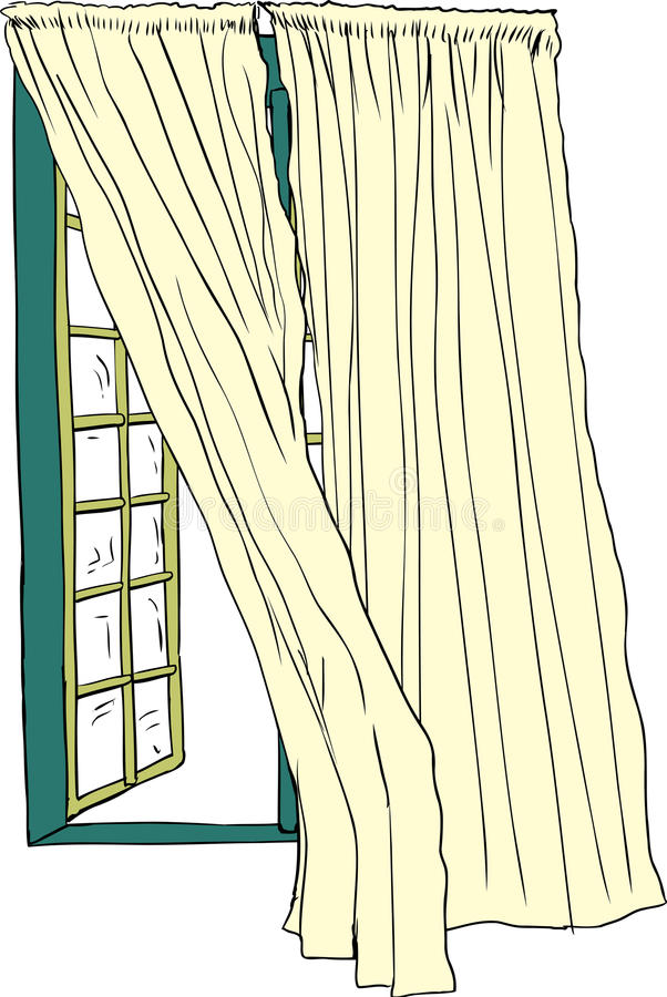Download Open Window And Blowing Curtains Stock Illustration   Illustration  Of Drapes, Green: 70678729
