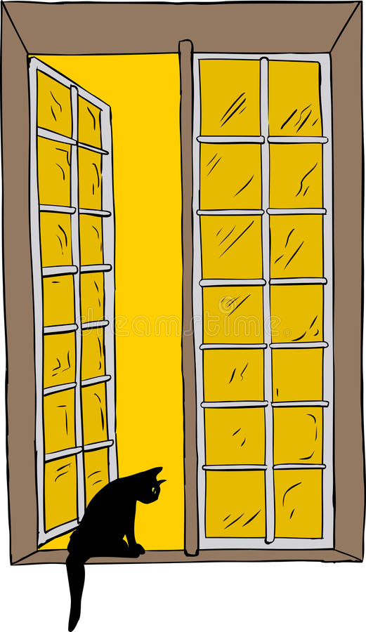 Open window with cat looking out stock illustration