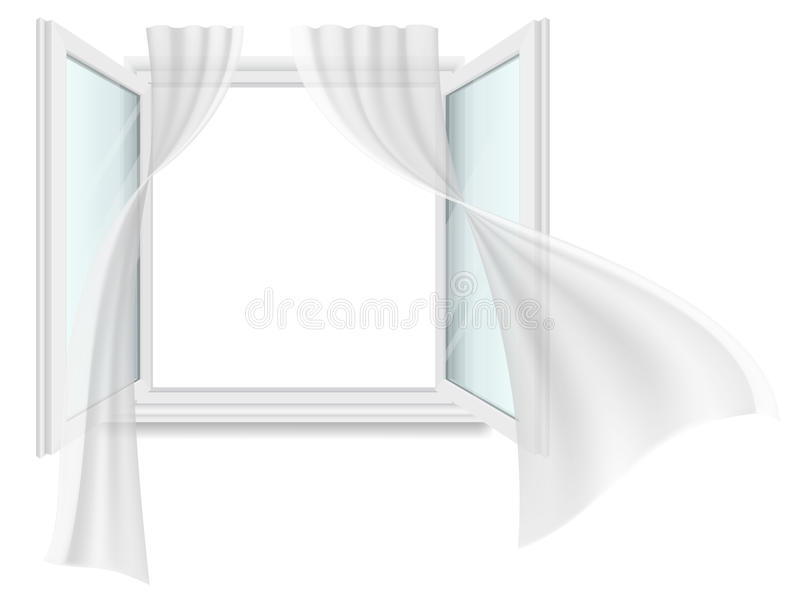 Open window and fluttering curtains. royalty free illustration