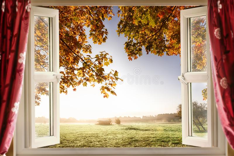 Open window onto stunning countryside royalty free stock photos