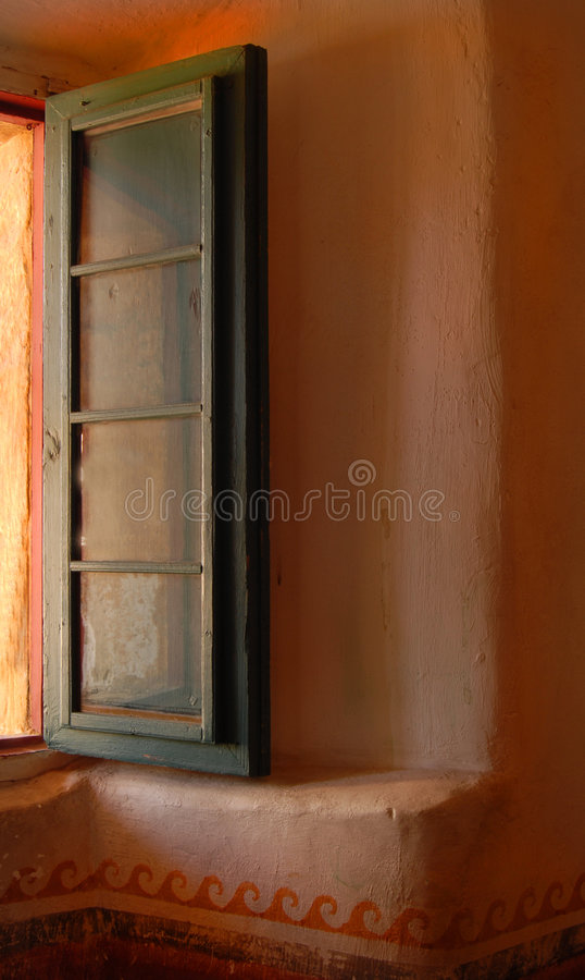 Open window in the Mission of Santa Barbara royalty free stock images