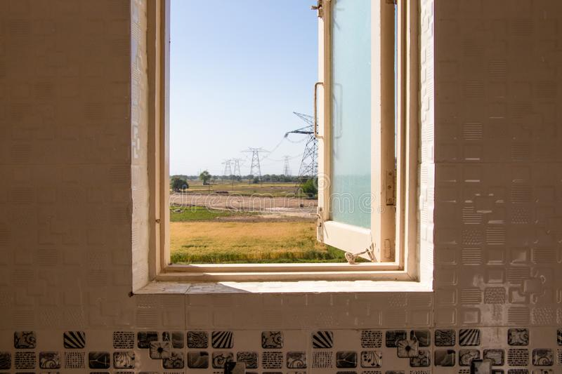 Open window, outside view. Through window stock images