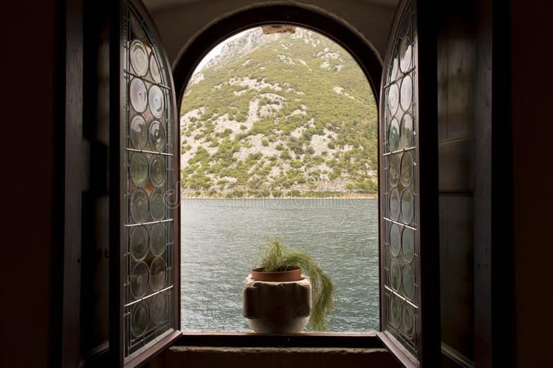 Open window with sea and mountain views.  royalty free stock photo