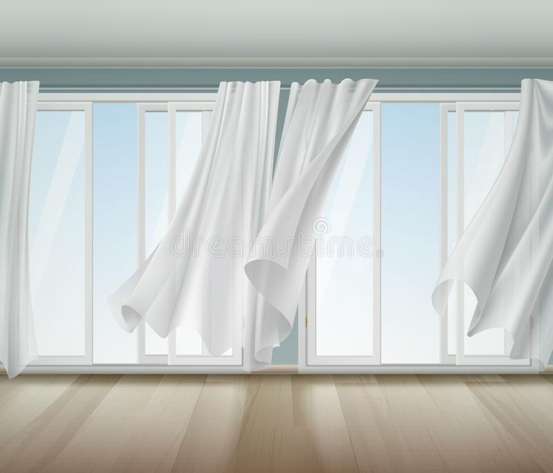 Download Billowing Curtains Open Window Illustration Stock Vector