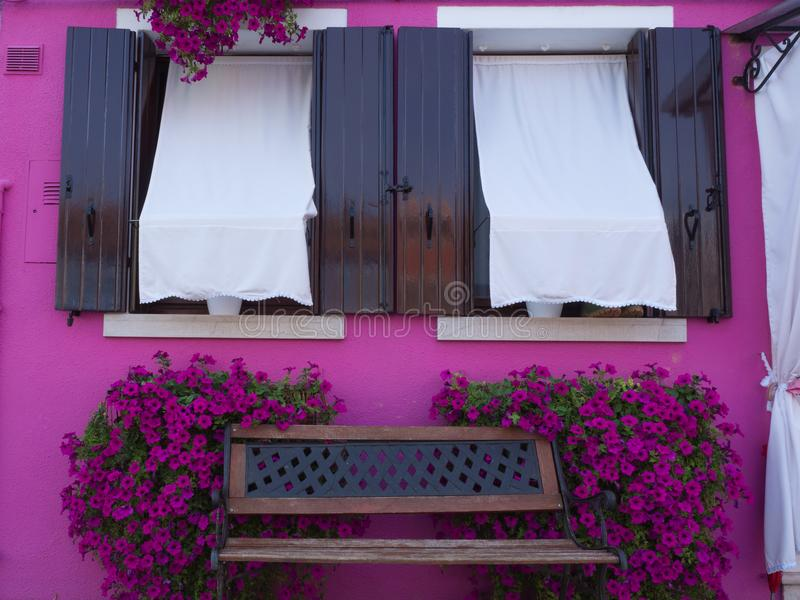 Open Windows at a Magenta colored home in Burano Italy. With a bench surrounded by flowers stock images