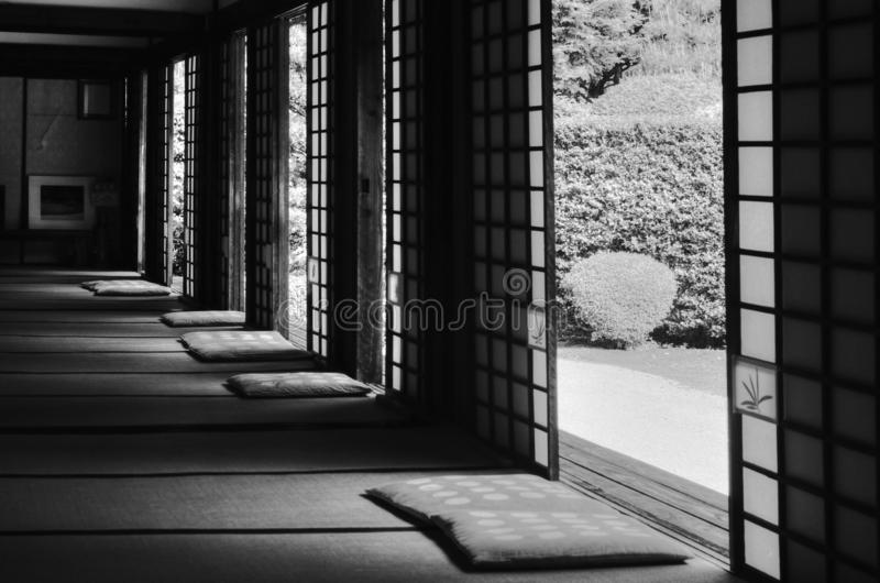 Open windows to Japanese garden. Windows in Japanese temple Funda-in, for meditating on dry garden scenery, Kyoto, Japan royalty free stock photography