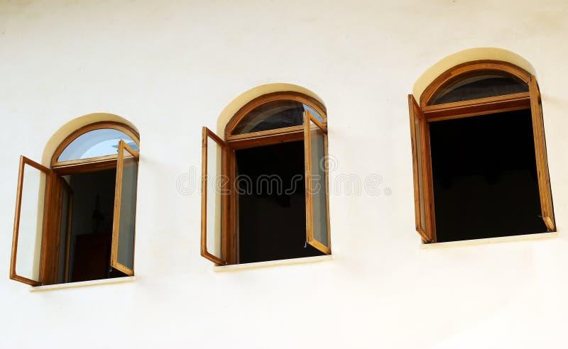 Open Windows On White Wall Royalty Free Stock Photo