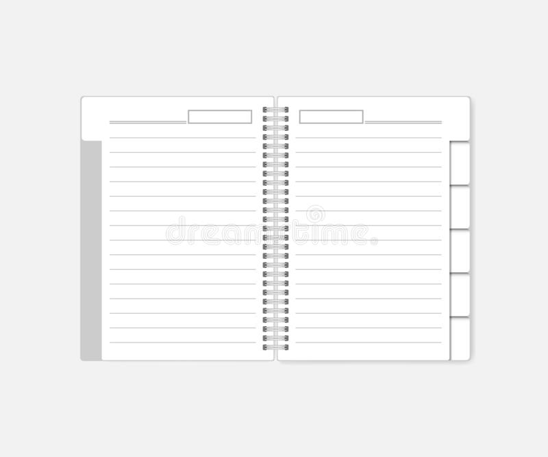 Open wire spiral bound lined notebook, diary with tab dividers - mockup. Open spiral notebook with tab dividers, mockup. White notepad with bookmarks, template vector illustration