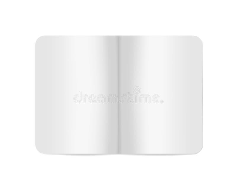 Open witte lege softcovernotitieboekje of brochure, vectormodel royalty-vrije illustratie