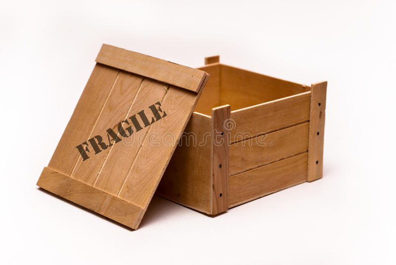 Open wooden box stock image