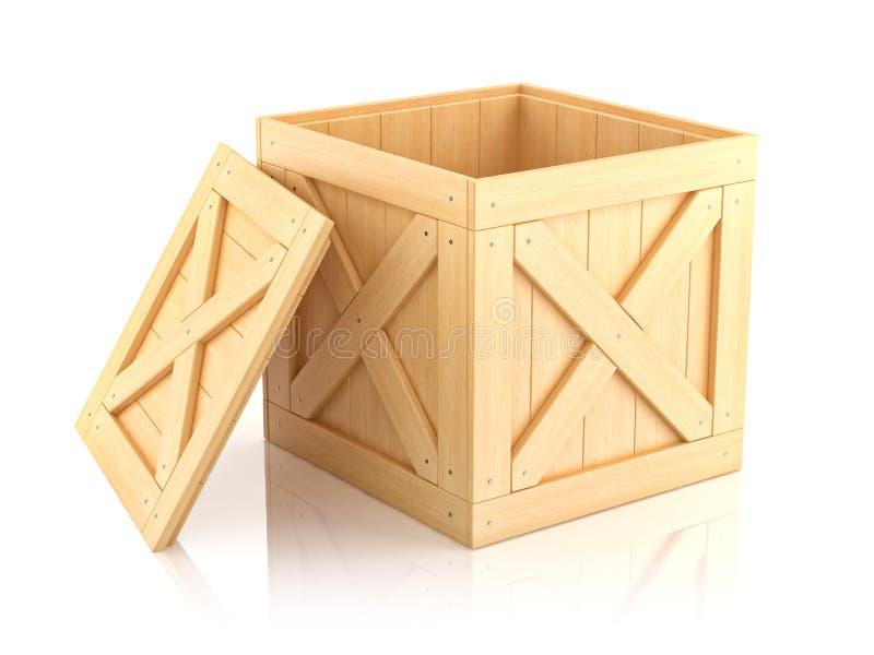 Open wooden box 3D vector illustration