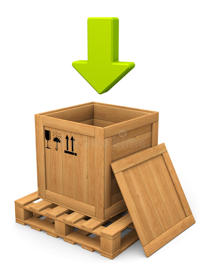 Download Open Wooden Box And Green Arrow. Download Concept. Stock Illustration - Image: 33363309
