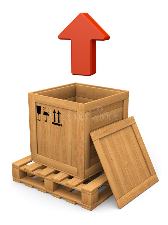 Download Open Wooden Box And Red Arrow. Extract Concept. Stock Illustration - Illustration of objects, brown: 33363318