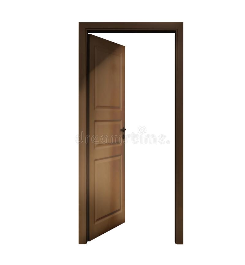 Open wooden door on white background stock photography