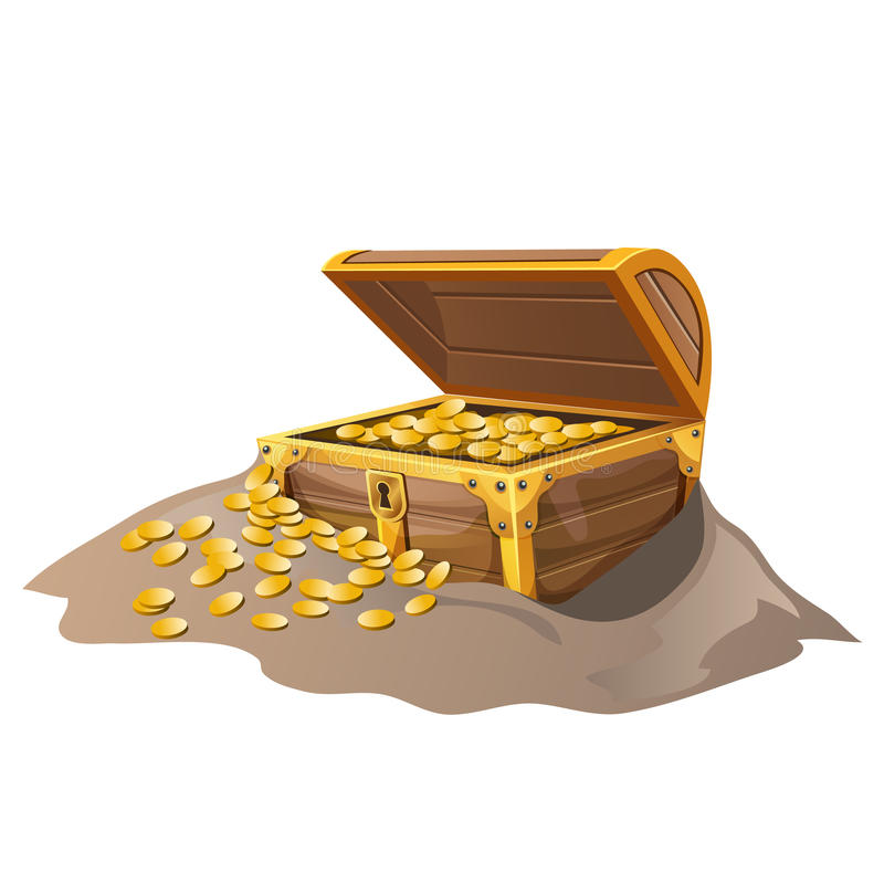 Open wooden pirate chest in sand with Golden coins stock illustration