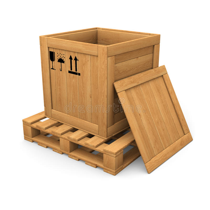 Download Open Wooden With Print Box On Pallet Stock Illustration - Image: 33363316