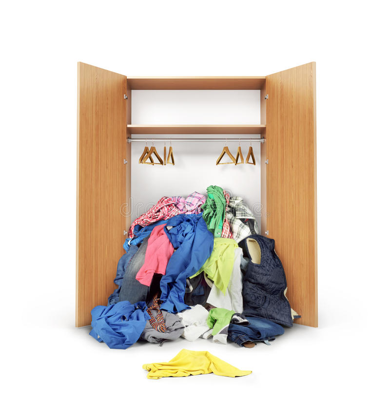 Open wooden wardrobe. stock images