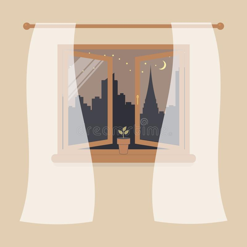 Open wooden window with tulle as design element for interior of room on cream background. Night city scene or cityscape is outside. Plant in pot on windowsill royalty free illustration