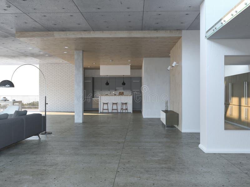Open woonkamer met keuken stock illustratie
