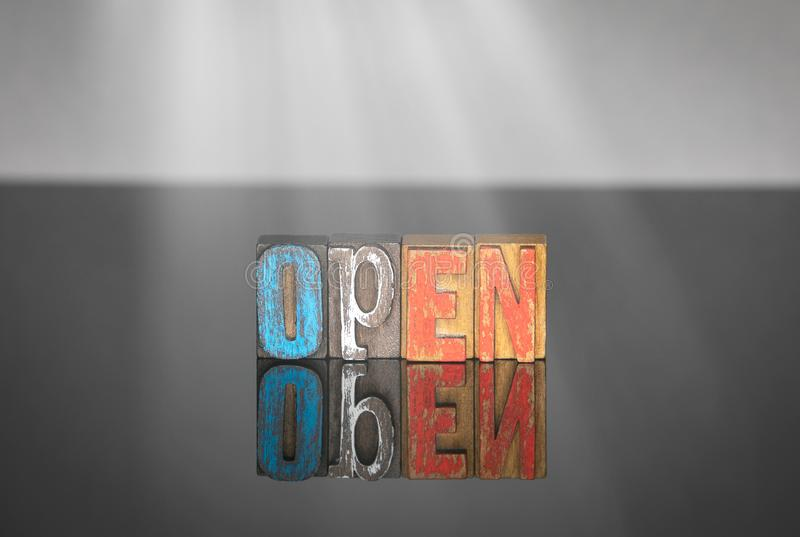 Open word from colored wooden letters royalty free stock image