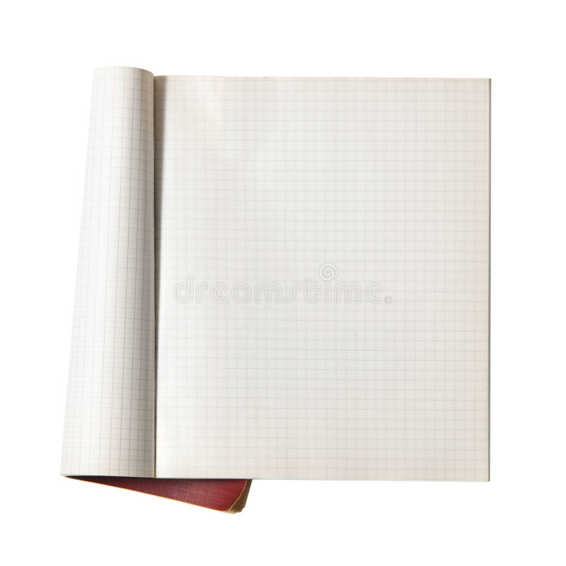 Open writing-book stock image