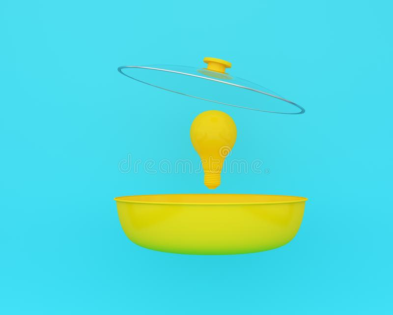 Open yellow cooking pot with yellow light bulbs floating on blue color background. minimal business concept and food idea. An idea. Creative to produce work royalty free stock photography