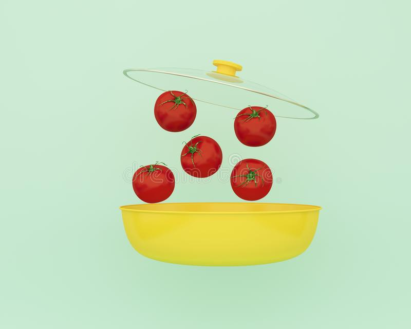 Open yellow cooking pot with tomatos floating on blue color background. minimal food idea. An idea creative to produce work within. An advertising marketing royalty free stock photos