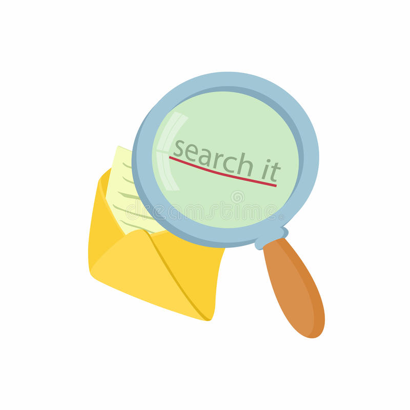 Open yellow envelope and magnifying glass icon stock illustration