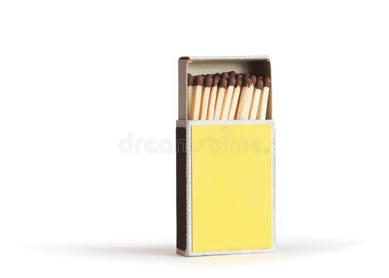 Open Yellow Matchbox. Standing on white background. Isolated with clipping path stock photo