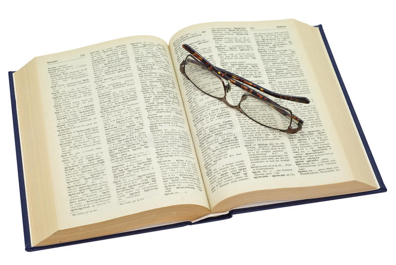 Download Open Yellowed Old Book With Glasses Stock Image - Image: 11124375