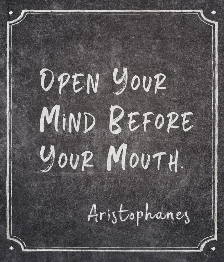 Open your mind Aristophanes royalty free stock photo