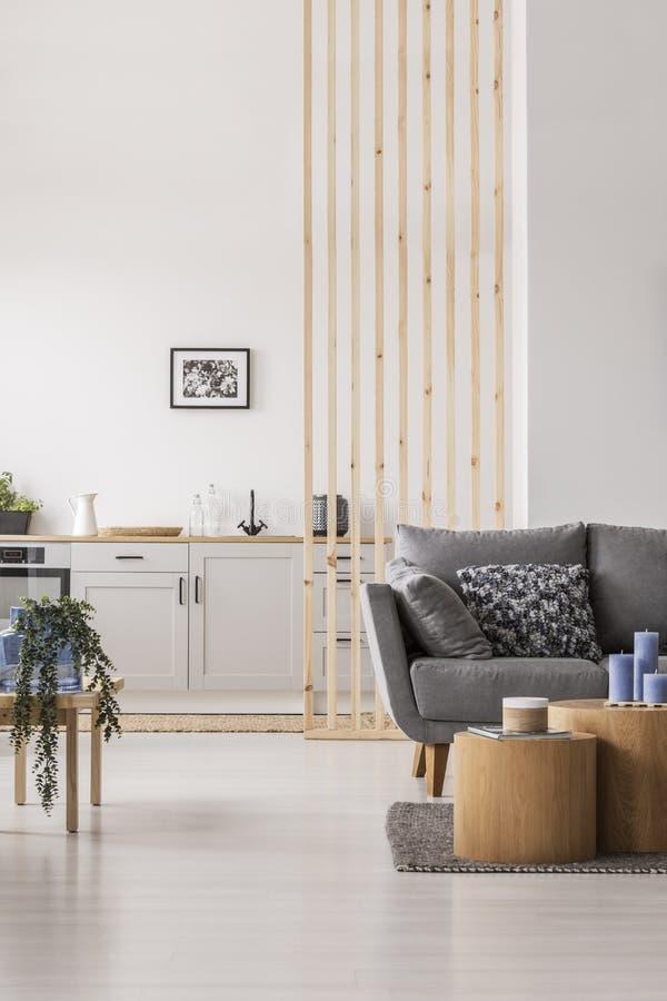 Open zitslaapkamer met kleine witte keuken en woonkamer met grijze laag en houten koffietafel royalty-vrije stock afbeelding