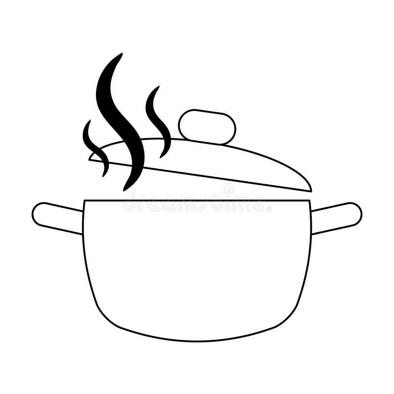 Open zwart-wit het verstandaroma van de keukenpot vector illustratie
