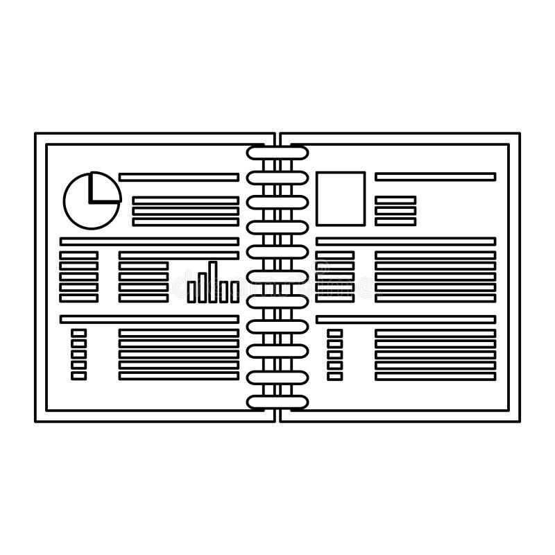 Open zwart-wit van het grafiekboek royalty-vrije illustratie