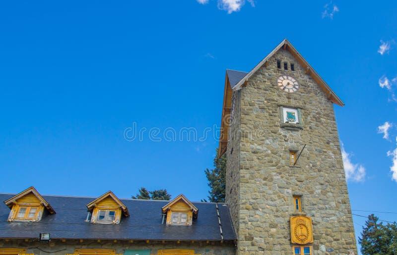 Openbaar Centrum, Centro Civico en hoofdvierkant in Bariloche-Stad de van de binnenstad San Carlos de Bariloche, Argentinië royalty-vrije stock foto's