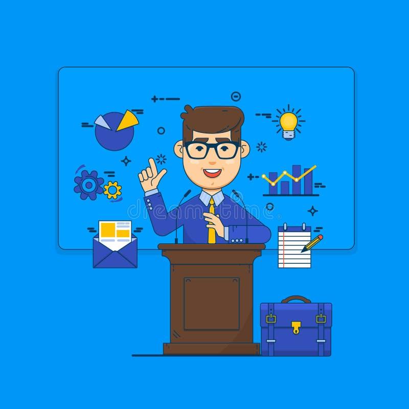 Openbaar het spreken concept Woordvoerder die van tribune en pictogrammen spreken Illustratie van de bedrijfsconferentie de vlakk stock illustratie