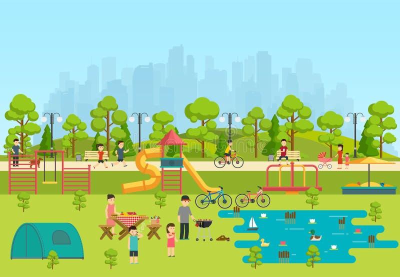 Openbaar park met een speelplaats en een meer stock illustratie