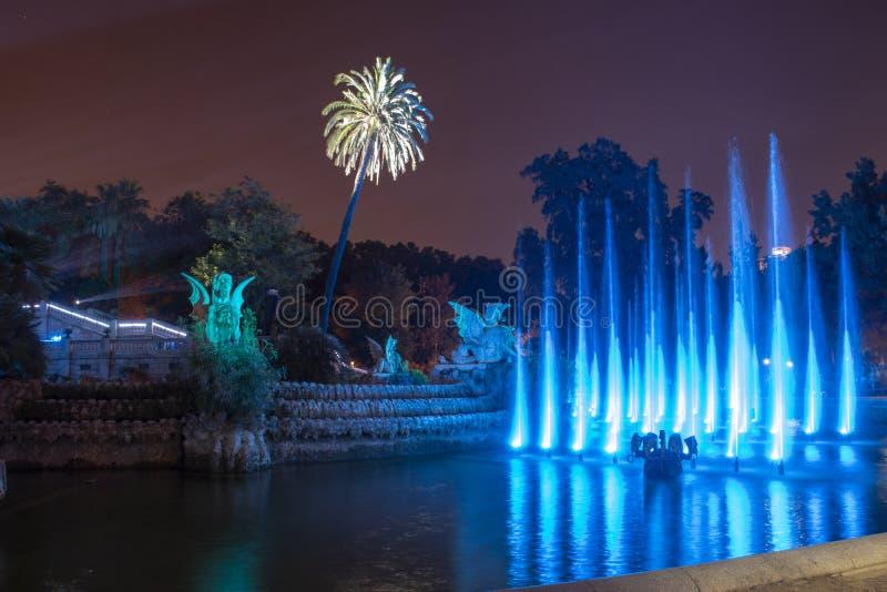 Openbaar park van Ciutadella 's nachts in de stad van Barcelona royalty-vrije stock foto's