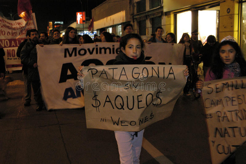Openbaar protest tegen Project HidroAysén in Chili