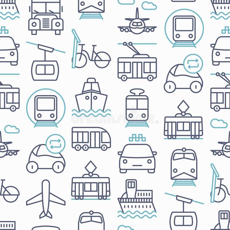 Openbaar vervoer naadloos patroon royalty-vrije illustratie