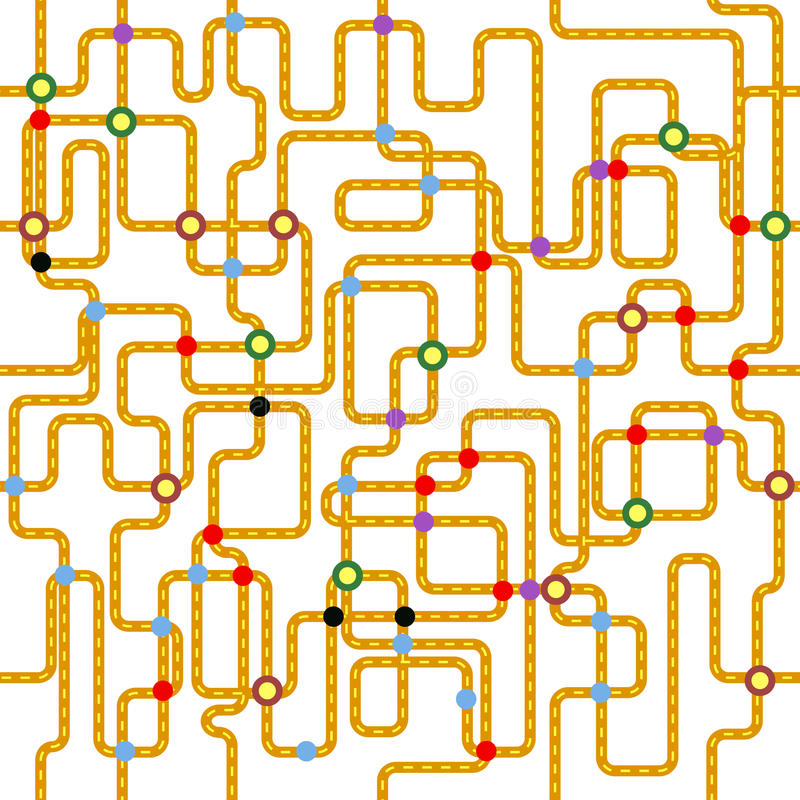 Openbaar vervoer naadloos patroon, stock illustratie