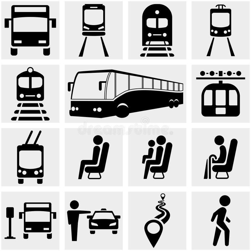 Openbaar vervoer vectordiepictogrammen op grijs worden geplaatst. stock illustratie